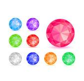 Diamond Stone Icon Set — Stock Vector