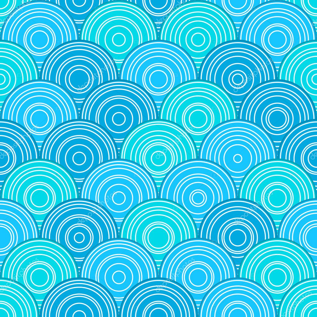 Blue Seamless Pattern with Circles in Line. Vector Illustration — Stock Vector #9684488