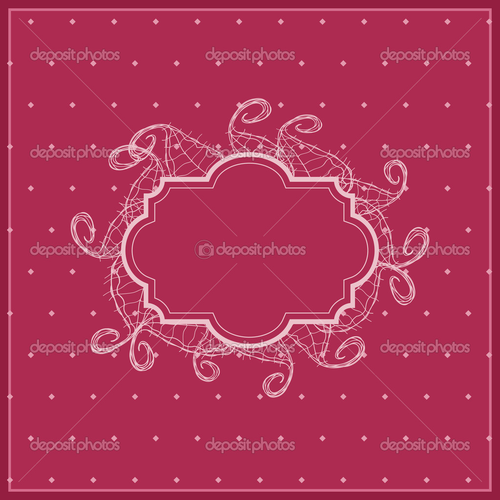 Red Floral Invintation Card with Leaves Silhouettes. Vector Image — Stock Vector #9687285