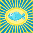 Fish Grunge Blue Striped Card — Stock Vector