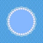 Blauwe uitnodigingskaart met witte parels — Stockvector