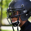 Profile Young Black Man in Football Helmet — Stock Photo