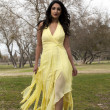 Young Teen East Indian Woman Yellow Dress — Stock Photo