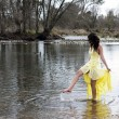 Young East Indian Woman Standing In River — Stock Photo