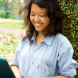 Cheerful female college student — Stock Photo