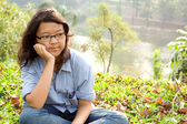 Contemplating asian school girl — Stock Photo