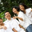 Happy asian ethnic family portrait — Stock Photo