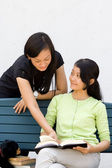 Two asian female college students discuss a literature — Stock Photo