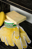 Car care materials on the shelf — Stock Photo