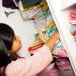 Little asian girl wardrobe — Stock Photo