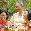 Asian elderly mother and daughter fun together — Stock Photo