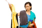 Ethnic asian girl choose an outfit — Stock Photo