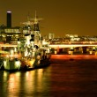 Hms Belfast on the river Thames - Stock Photo