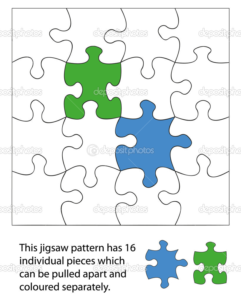 16 piece jigsaw blank. When used with a vector program each piece can be coloured individually and be moved around or deleted to create different effects. — Stock Vector #8748187