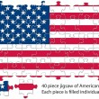 USA flag jigsaw — Stock Vector