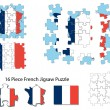 French flag and jigsaw puzzle — Stock Vector