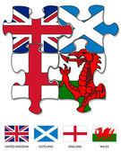 UK country flag jigsaw 2 — Stock Vector