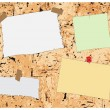 Cork board and post-it-notes — Stock Vector #9059136
