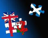 Four country flag jigsaws — Stock Photo