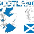 Scotland map and flag — Stockvectorbeeld