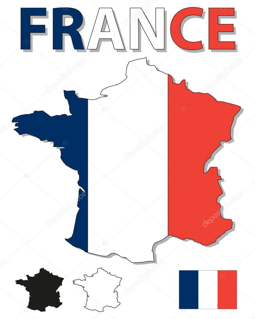 法国大纲地图充满法国国旗