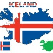 Iceland map and flag — Stock Vector