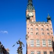 Stock Photo: Town Hall and Neptune Fountain in Gdansk