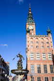Town Hall and Neptune Fountain in Gdansk — Stock Photo