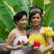 Cambodian Bride with Bridesmaid — Stock Photo