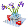 Taffies (irises) and heart - Stock Photo