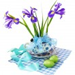 Stock Photo: Easter reason with irises and easter eggs