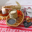 Stockfoto: Small basket with traditional Christmas porridge