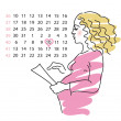 Pregnant of womcalculates day of births — Vector de stock #8526720