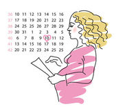 The pregnant of woman calculates the day of births — Vector de stock
