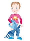 çocuk ve chamberpot — Stok Vektör