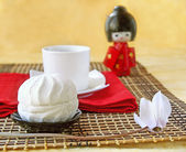 White day. Zephyr and doll in the Japanese kimono — Stock Photo