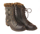 Leather boots on to fur — Stock Photo