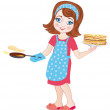 Girl fries pancakes on Shrovetide. Vector Illustration — Stock Vector