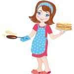 Girl fries pancakes on Shrovetide. Vector Illustration — Stock Vector