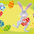 Stock Vector: Easter rabbit with easter eggs