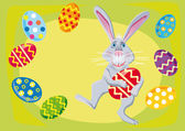 Easter rabbit with easter eggs — Stock Vector