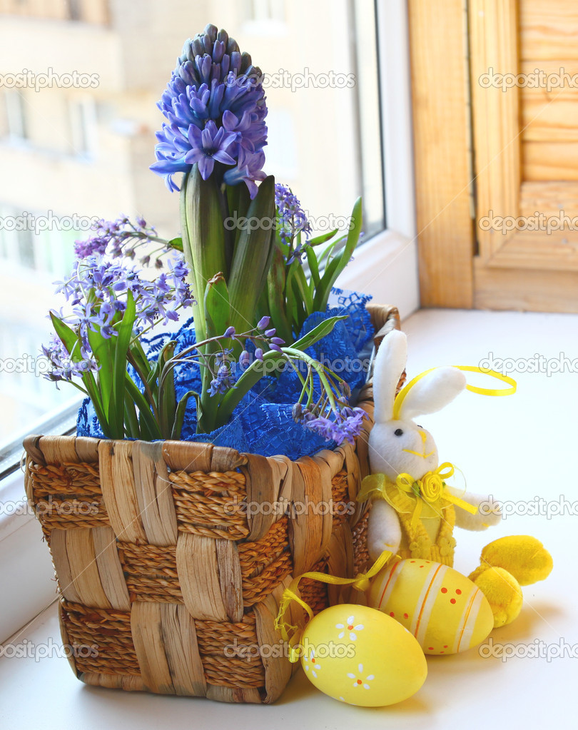 Easter decorating of balcony - stock photo olesia sarycheva .