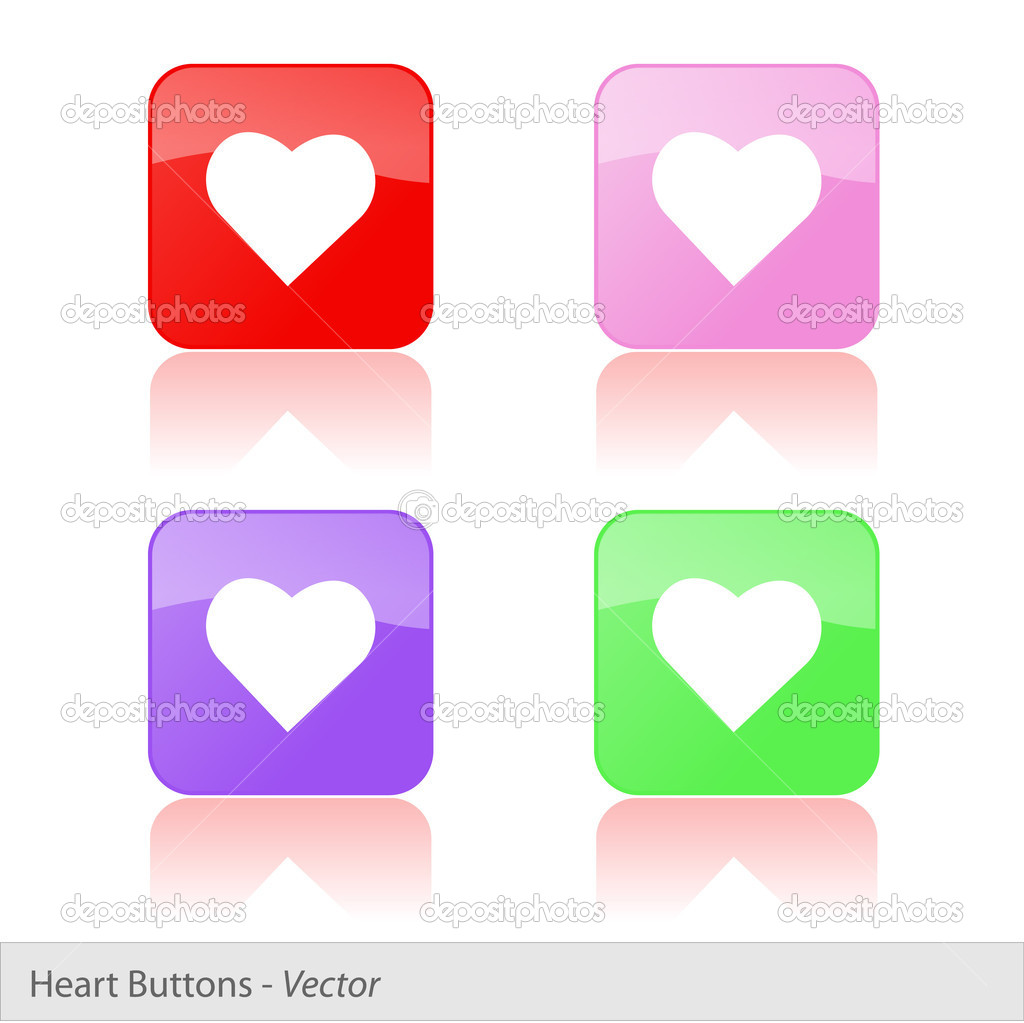 Image of colorful buttons with heart icon isolated on a white background. — Stock Vector #9100384