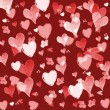Red Valentines day background with hearts - Stockfoto
