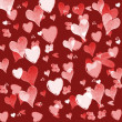 Red Valentines day background with hearts - Photo