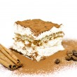 Homemade Tiramisu cake with cinnamon and coffee beans - Stock Photo