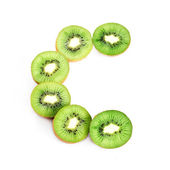 C letter from kiwi fruits — Stock Photo