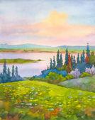 Mostra delle colline di primavera sul fiume nella valle — Foto Stock