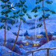 Night at the winter village — Stock Photo