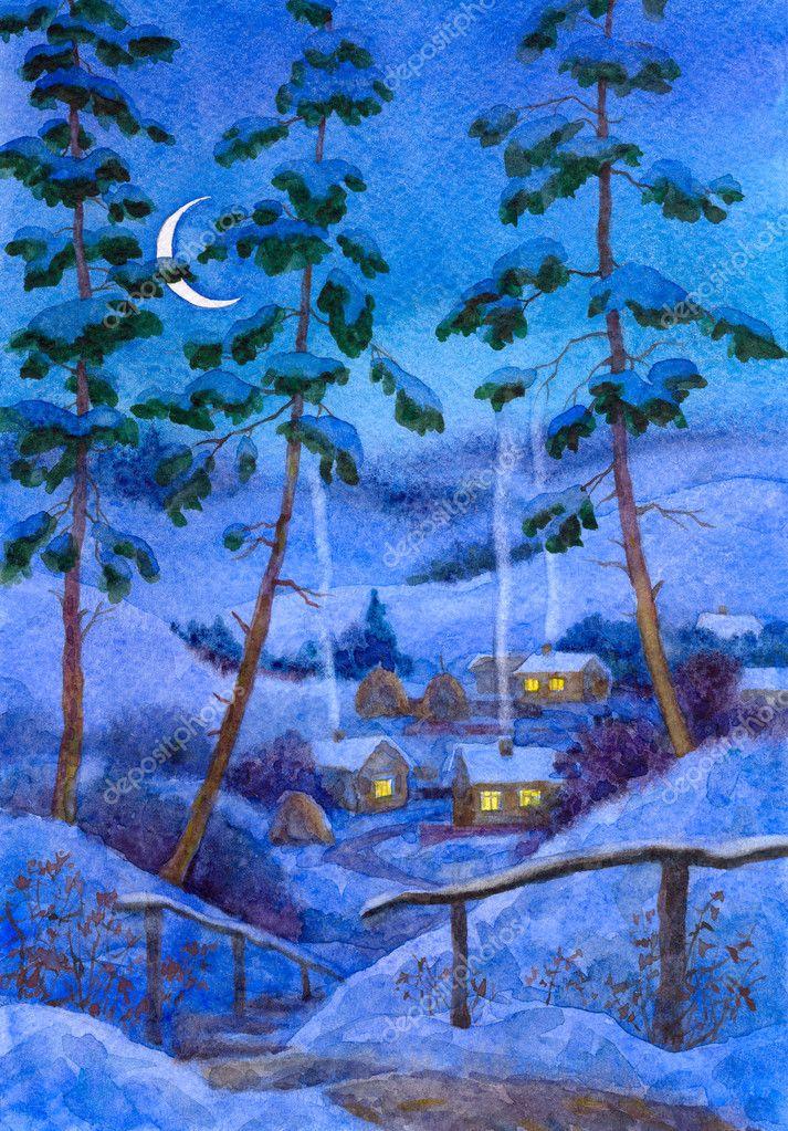 在冬季村夜